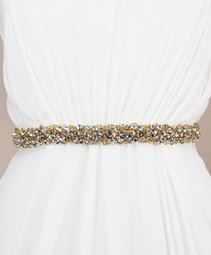 Gari Sash - Gold | Kirsten Kuehn || handmade crystal bridal sashes & embellished accessories
