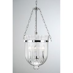 Chrome Finish Ribbed Glass Lantern Chandelier, Clear