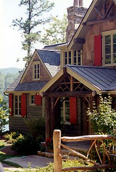 Adirondack Retreat House 05 by Spitzmiller & Norris, Inc. --> Completely in love with this house. It combines the craftsmanship of a farm style house with a cabin in the most beautiful and perfect ways. Love the Red Shutters! Cabin In The Woods, Into The Woods, Cabin Homes, Log Homes, Red Shutters, Rustic Shutters, Window Shutters, Retreat House, Boho Home