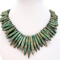 Forest Green Aqua Terra Jasper Spear Necklace, Large Green Spike Bib Choker Gold Necklace