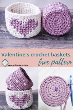 knitznpurlzT-shirt yarn and crochet patterns Add vibrant colors to your Valentine's decor. These crochet baskets are simple and fast to make with free crochet pattern. These crochet pots can also be made as a housewarming gift. Quick Crochet Patterns, Crochet Basket Pattern, Crochet Baskets, Crochet Yarn, Free Crochet, Quick Crochet Gifts, Doilies Crochet, Crochet Beanie, Crochet Dolls