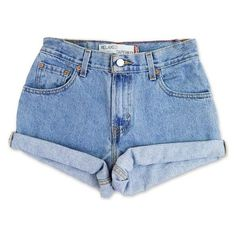 Vintage 90s Levi's Medium Blue Wash High Waisted Rise Cut Offs Cuffed ❤ liked on Polyvore featuring shorts, high waisted denim shorts, levi cut offs, high-waisted cut-off shorts, levi shorts and vintage high waisted shorts