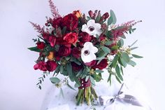 Burgundy bouquet with anemone