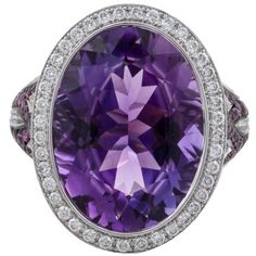 Preowned Asprey Amethyst Diamond Gold Ring ($6,700) ❤ liked on Polyvore featuring jewelry, rings, cocktail rings, purple, gold ring, pre owned diamond rings, purple ring, statement rings and gold cocktail rings