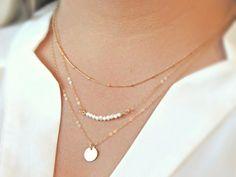 Ketten kurz - LONG ISLAND Set Boho Kette Collier Perlen gold - ein Designerstück von Kleines-Karma bei DaWanda