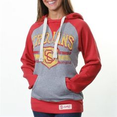 USC Trojans Ladies Barrister Hoodie - Gray/Cardinal  #UltimateTailgate #Fanatics