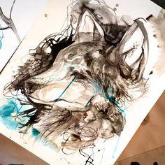 Espíritus de animales salvajes en ilustraciones a lápiz y rotulador, por Katy Lipscomb