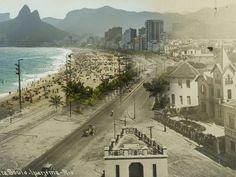 Avenida Vieira Souto, em Ipanema, na década de 30 e nos dias de hoje (Foto: Augusto Malta / Marcello Cavalcanti)