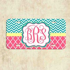 Monogram License Plate  Teal Chevron Pink Lattice  by mylittlecase, $16.99
