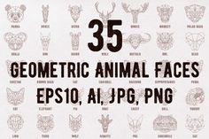 Geometric animal set by DSGN on @creativemarket