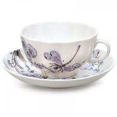 Lomonosov Porcelain Tea Set Cup and Saucer Dragonfly Whisper 2pcs