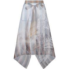 Fendi sheer printed skirt ($755) ❤ liked on Polyvore featuring skirts, fendi, fendi skirt, open back skirt, transparent skirt and see-through skirts
