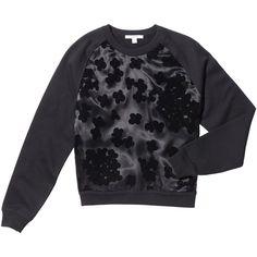 Carven Floral Organza Sweatshirt Goop ❤ liked on Polyvore featuring tops, hoodies, sweatshirts, black top, floral top, sheer black top, black sweatshirt and floral print sweatshirt
