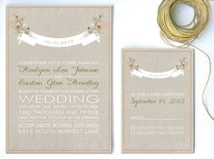 Floral Wedding Invitation fall garden spring by twigsprintstudio, $2.75