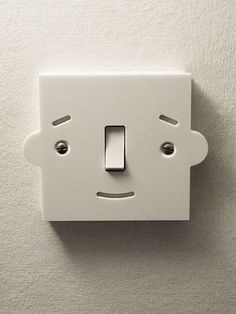 Cute light switch idea for a child's room! What a great little gift idea to… Design 3d, Deco Design, Funny Design, Graphic Design, Things With Faces, Crazy Faces, Hidden Face, 3d Prints, Everyday Objects