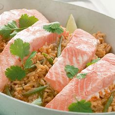 Thai Style Salmon and Rice with Red Curry Sauce