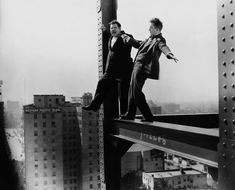 Laurel and Hardy try a highwire act