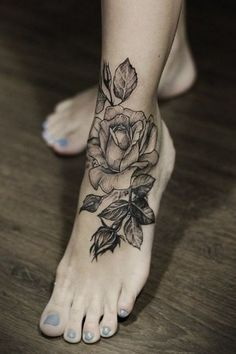 Wonderful Rose Foot Tattoo Black And White, New Flower Tattoos December 2015