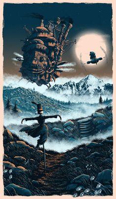 Howl's Moving Castle (Hauru no Ugoku Shiro) Howl's Moving Castle, Howls Moving Castle Wallpaper, Hayao Miyazaki, Studio Ghibli Art, Studio Ghibli Movies, Studio Ghibli Poster, Totoro, Personajes Studio Ghibli, Studio Ghibli Background