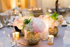 Glamorous Gold Mercury Glass-Filled Peonies, Candles