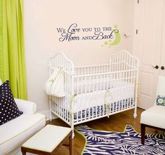 Nursery wall decal We Love You to The Moon and by MommyofTyDesigns, $35.00