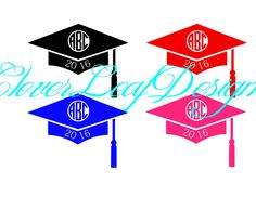 Graduate decals. Can be customized in colors.