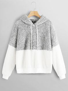 Color Block Teddy Hoodie: Product name: Color Block Teddy Hoodie at SHEIN, Category: Sweatshirts Hoodie Sweatshirts, Sweatshirts Online, Hoody, Winter Outfits, Casual Outfits, Cute Outfits, Tomboy Outfits, Emo Outfits, Fashion Clothes