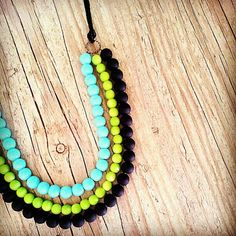 Neon necklace in black,lime and light blue glass beads,Tribal neon necklace, Statement neon necklace, three strand neon necklace
