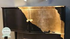 How to Gold Leaf the easy way. Fusion Coal Black and Gold Leaf By Home Revival How to Gold Leaf the easy way. Fusion Coal Black and Gold Leaf By Home Revival Furniture Diy, Gold Leaf Furniture, Gold Furniture, Diy Furniture Bedroom, Paint Furniture, Vintage Furniture, Wood Bedroom Furniture, Recycled Furniture, White Furniture Living Room