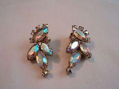 Vintage Clip On Earrings, Aurora Borealis Rhinestones, Gold Tone, Costume Jewelry.