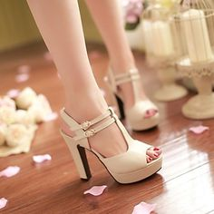 Women's Shoes Heel Heels / Peep Toe / Platform Sandals / Heels Outdoor / Dress / Casual Black / Pink / Almond/687 4849476 2016 – $22.99