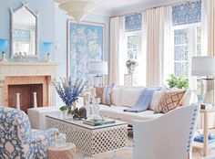 Marshall Watson A serene blue and white living room with a large framed Chinoiserie panel as the focal point. Coastal Living Rooms, My Living Room, Living Room Decor, Blue Living Rooms, Coastal Bedrooms, Interior Exterior, Interior Design, Stylish Interior, Blue And White Living Room