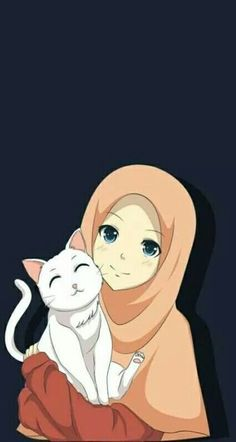 Hijab Drawing, Cat Drawing, Girl Cartoon, Cute Cartoon, Cartoon Cats, Cartoon Ideas, Cover Wattpad, Cat Background, Background Pictures