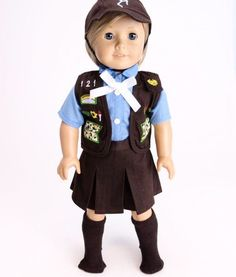 Be ready for your next troop meeting! Outstanding Girl Scouts Brownie skirt outfit Includes vest with embroidered patches, blue shirt with fake buttons over a hook a loop closure, brown skirt with rea