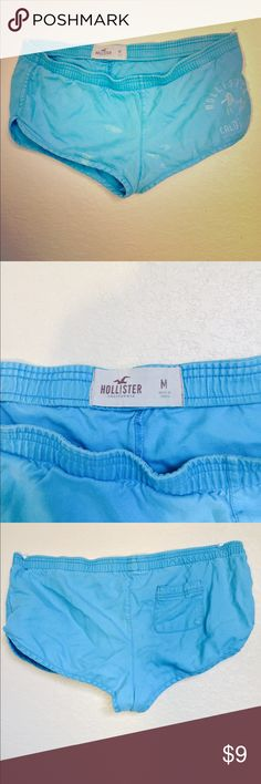 Hollister California Shorts These shorts are medium size and the color is a sky or baby blue! The back of the shorts has one small pocket on the right side! Decent condition; there's no stain on the back of the shorts but a few bleach stains on the front. I use to wear these as PJ's because it was too big for me! Hope you like it!! ❤️❤️❤️ Hollister Intimates & Sleepwear Pajamas