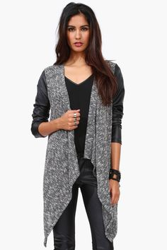 faux leather sleeved cardigan