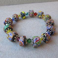 Artisan Antique African Trade Venitian Art Glass Bead & Swarovski