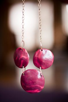 Handmade Plum and Bright Pink Clay Necklace by JenniferAnnFineArt, $28.00