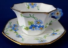 Cup and Saucer Flower Handle Melba Art Deco
