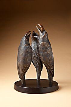 """Crows Ravens: """"Raven Talk,"""" by Hib Sabin (bronze). Crow Art, Gallery Artwork, Ceramic Animals, Sculpture Art, Animal Art, Animal Sculptures, Art, Bird Sculpture, Bird Art"""