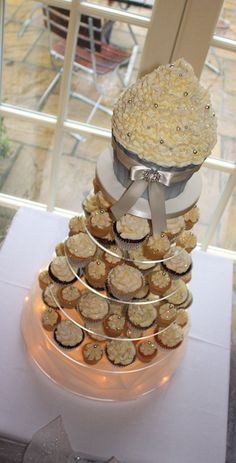 Ivory & Silver Sparkle Wedding Cupcake Tower