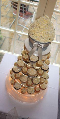 Ivory & Silver Sparkle Wedding Cupcake Tower