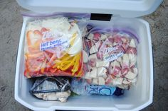 Pre chop all your veggies and pack them in a gallon Ziploc bag for fast and easy prep for camping. Label the bags with the dish and day and pack the veggies you will be using first at the top and last at the bottom of the cooler right on top of the ice. #camping #campingfood #glamping via Feed My Sole