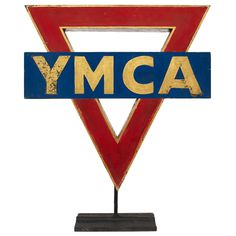 American YMCA metal sign in it's Original Paint. Due to the limited and unique nature and age of this piece, this item is NOT ELIGIBLE FOR RETURN. Village People, Outsider Art, Tribal Art, Metal Signs, Cool Furniture, Breakup, Folk Art, American, Antiques