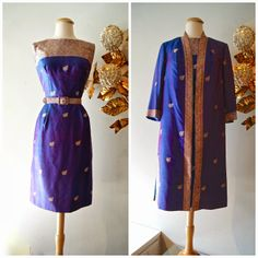 Exquisite 1960s Sari silk cocktail dress and jacket- mint condition (448.) Perfect for a mother of the bride!