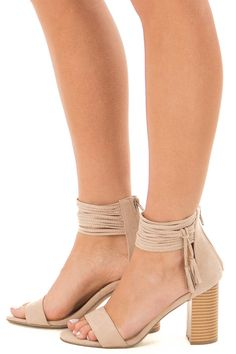 ad8538d1d97 Taupe High Heeled Sandal with Strappy Ankle Details. Lime Lush