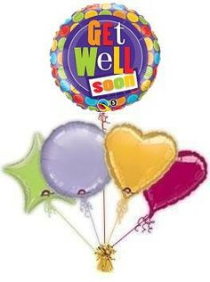 """Cheer someone up when they are poorly with lovely """"Get Well Soon Dots"""" Get Well balloons by post. Helium filled Get Well balloons in a box."""