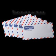 "$1.27 Nice for mail art; Wholesale - Paper Envelope Post Rectangle White Alphabet Pattern 21.8cm(8 5/8"") x 10.8cm(4 2/8"") , 30 PCs"