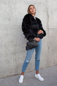 Styled in London Website, Styled in London Clothes, Celebrity Clothing, Ultra Soft Hooded Faux Fur Coat Black Jacket Outfit, Fur Coat Outfit, Black Faux Fur Jacket, Faux Fur Hooded Coat, Black Fluffy Coat, Short Faux Fur Jacket, Sporty Fashion, Ski Fashion, Fashion Outfits