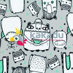Úplety s potiskem | Úplet s potiskem Monster mánie mentol | Kakadu fabrics